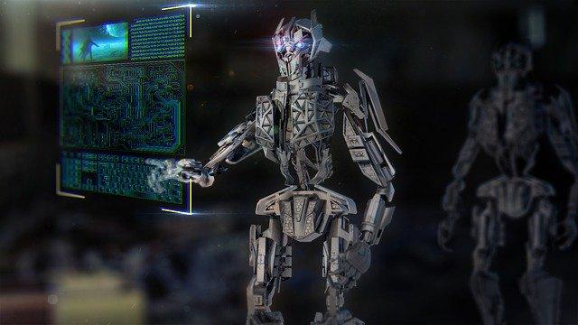 Imagem de robô digitando em teclado